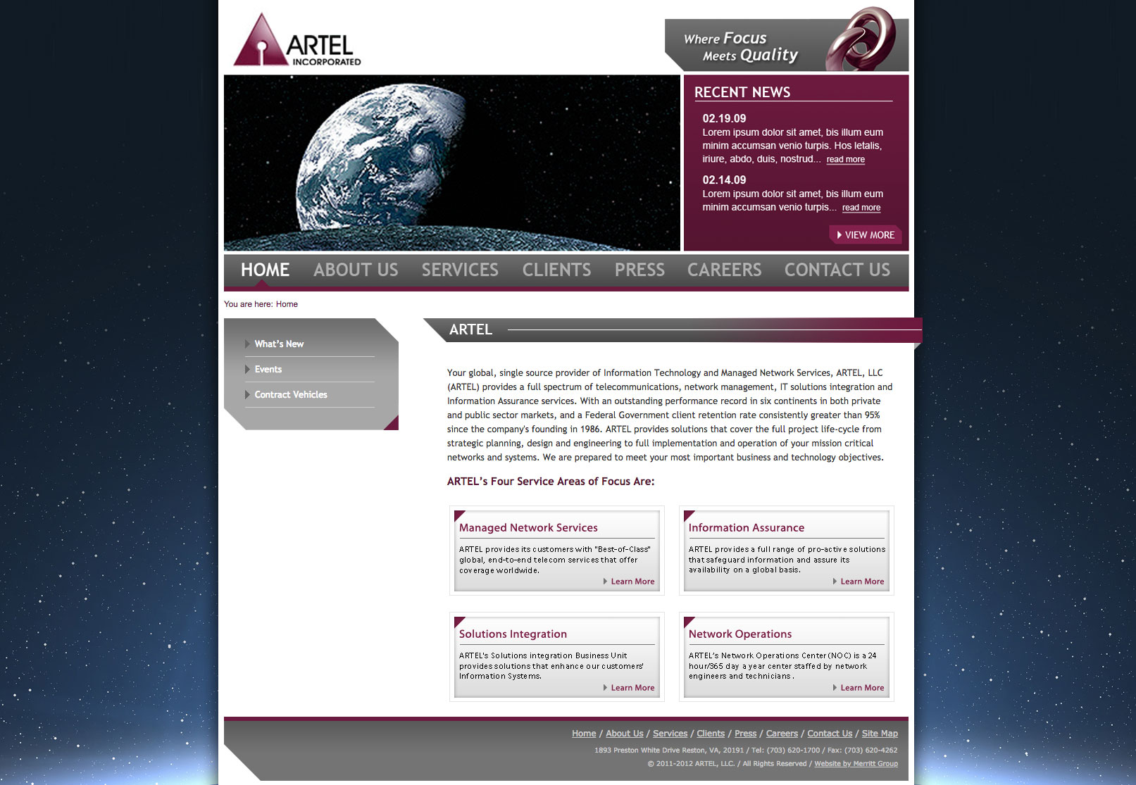 Artel Inc UI design screenshot