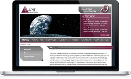 Artel Inc UI design screenshot inside of a laptop