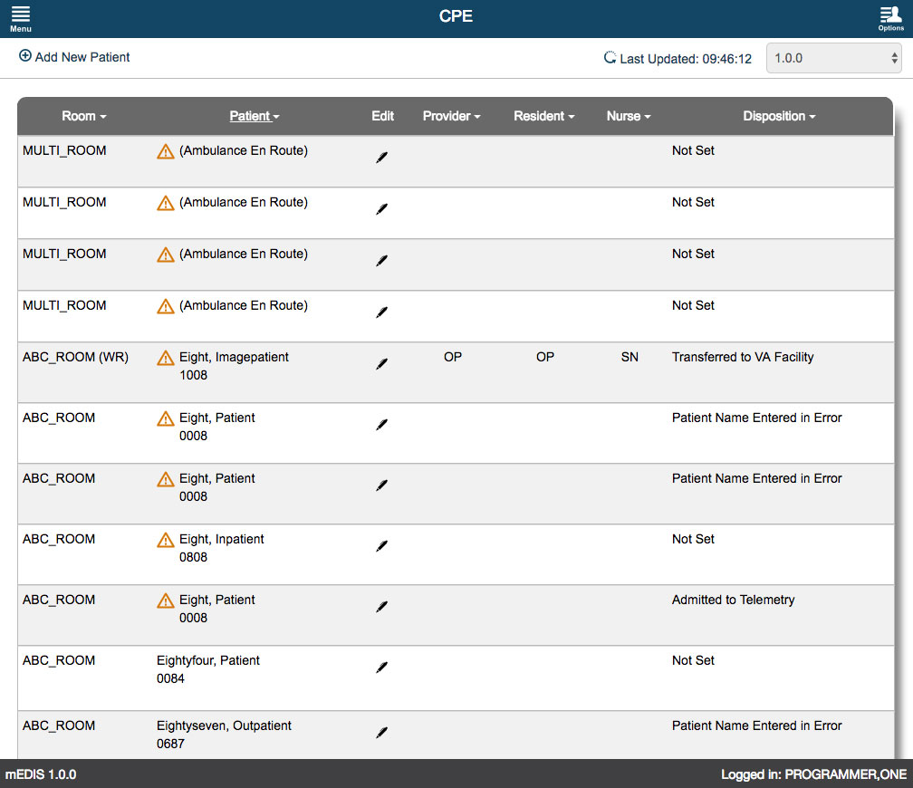 U.S. Department of Veterans Affairs - mEDIS Application UI design screenshot of the cpe screen