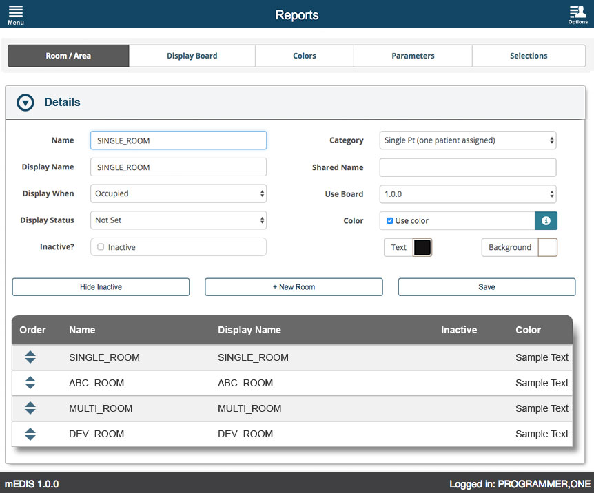 U.S. Department of Veterans Affairs - mEDIS Application UI design screenshot of the reports room screen